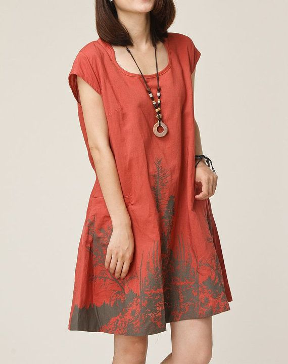 Brick red linen dress maxi dress cotton dress casual loose cotton skirt linen blouse large size tops sundress summer dress plus size dress on Etsy, $59.00