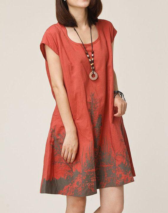 Brick red linen dress maxi dress cotton dress casual loose cotton skirt linen blouse large size tops sundress summer dress plus size dress on Etsy, $59.00