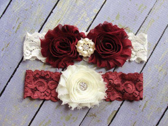 SALE 100+ Colors, Wedding Garter Belt, Garter Wedding, Deep Red Garters, Burgundy Garter, Red Garter, Custom Garter, Garter Sets