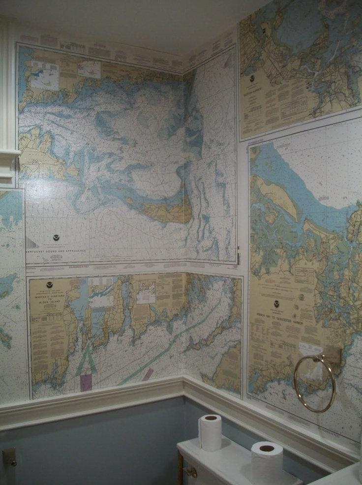 nautical chart / map wallpaper. want to cover the ceiling in our bathroom in this or in a vintage north shore map.