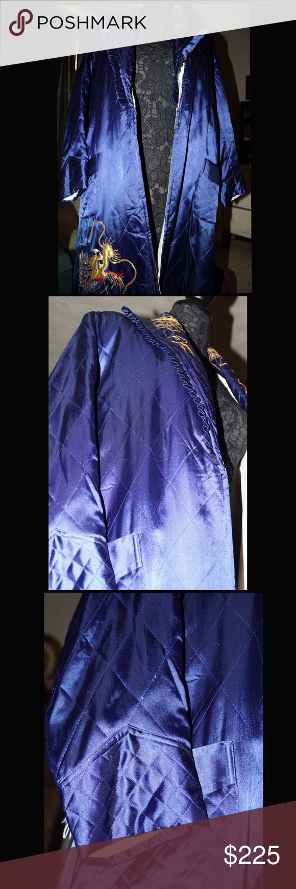 Vintage Japanese Robe Vintage fully lined, quilted, embroidered, silk quilted robe with silk belt. Front pockets. Has been stored in smoke-free, pet free environment for sixty-five years. Royal blue. Some variations in color due to storage. See photos for condition. Truly a piece of art. Yamato CR Intimates & Sleepwear Robes