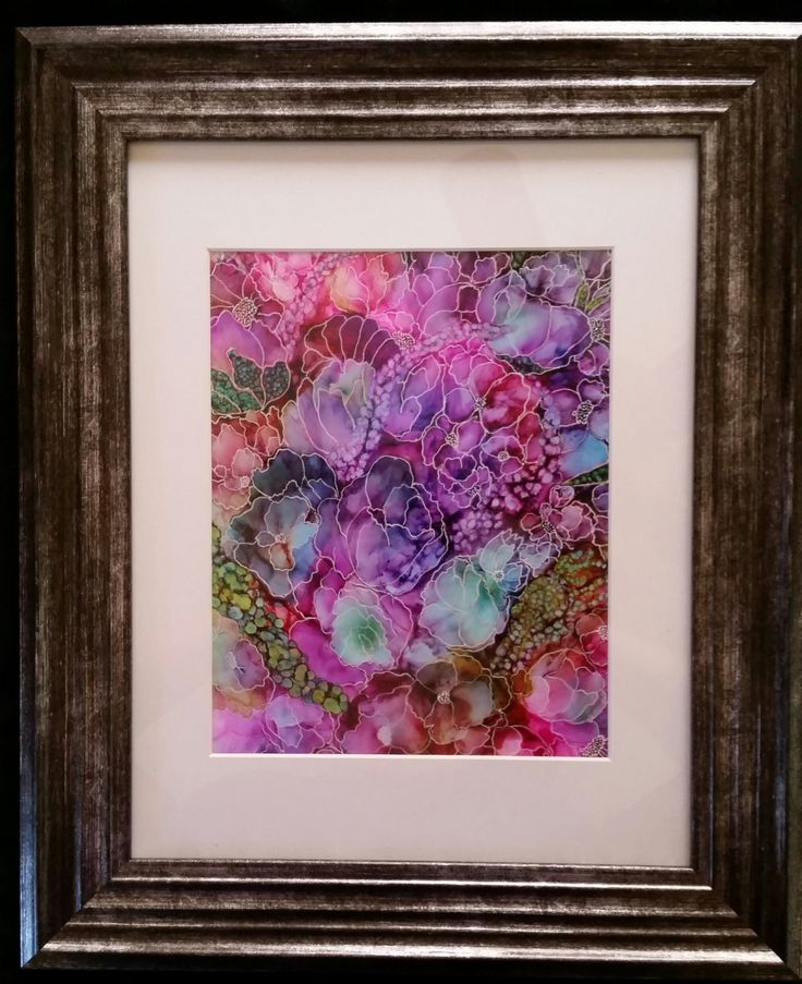 Beautiful Framed Floral Alcohol Ink by ObsessiveAbstraction
