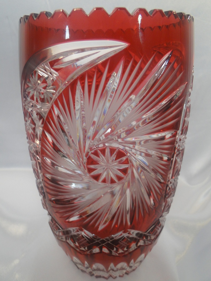 Large Bohemian Czech Cranberry Red Cut To Clear Lead