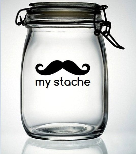 My Stache Mustache Moustache Glass Money Jar Piggy Bank Vinyl Decal - DIY Do It Yourself - Fathers Day Gift Birthday Party Wedding Favor $4.50