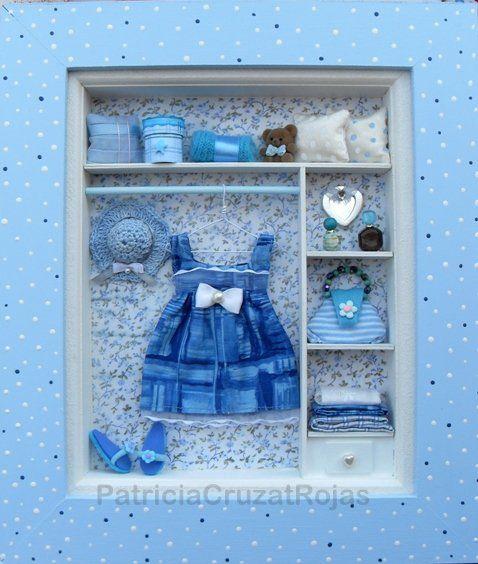 Cuadro Ropero en azules con miniaturas