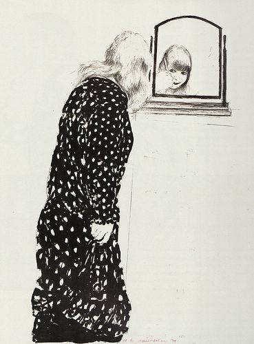 [ H ] David Hockney - Ann at a mirror combing (1979)