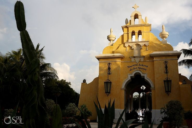 The Grand Palladium resort complex in #RivieraMaya offers an on-site #church is a #colonialstructure with soaring wood beam ceilings, columns and an open concept to allow a view of the surrounding tropical gardens