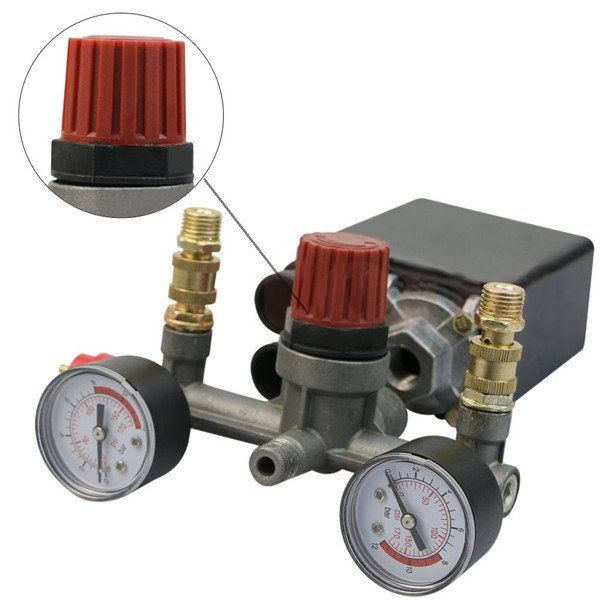 Visiocology : Regulator Pump Pressure Air Compressor Control Switch with Valve Gauges