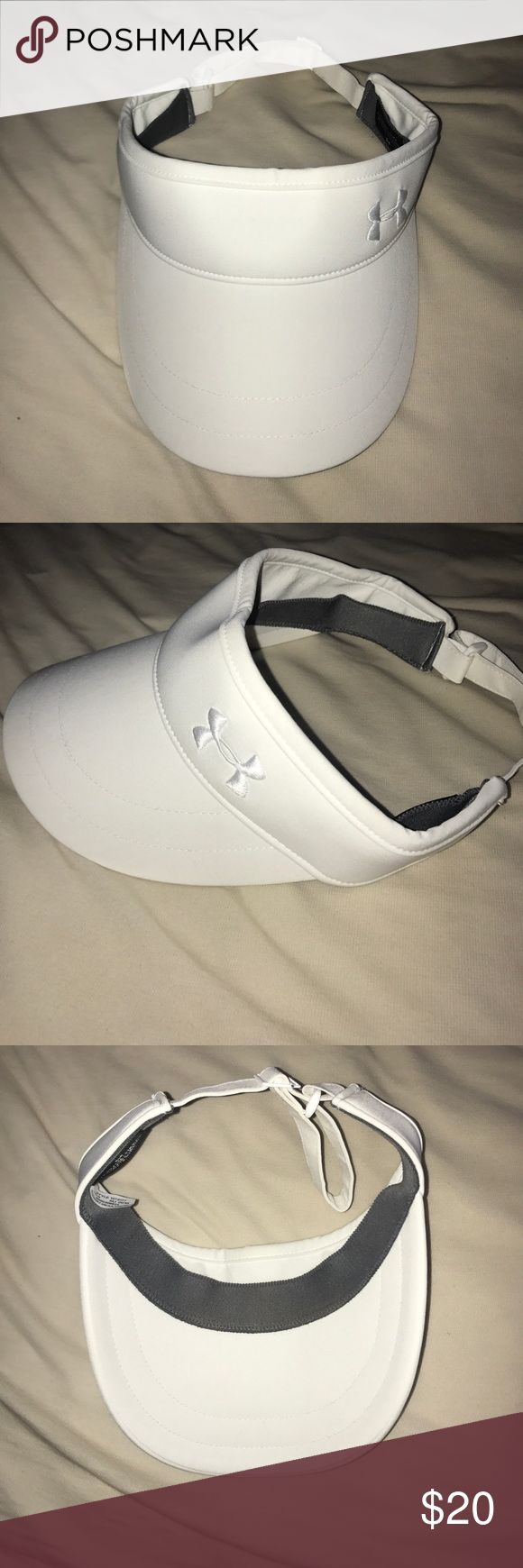 Under armour visor White under armour women's visor, worn once, slight make up mark on the inside from forehead but no other stains or marks, brand new Under Armour Accessories Hats