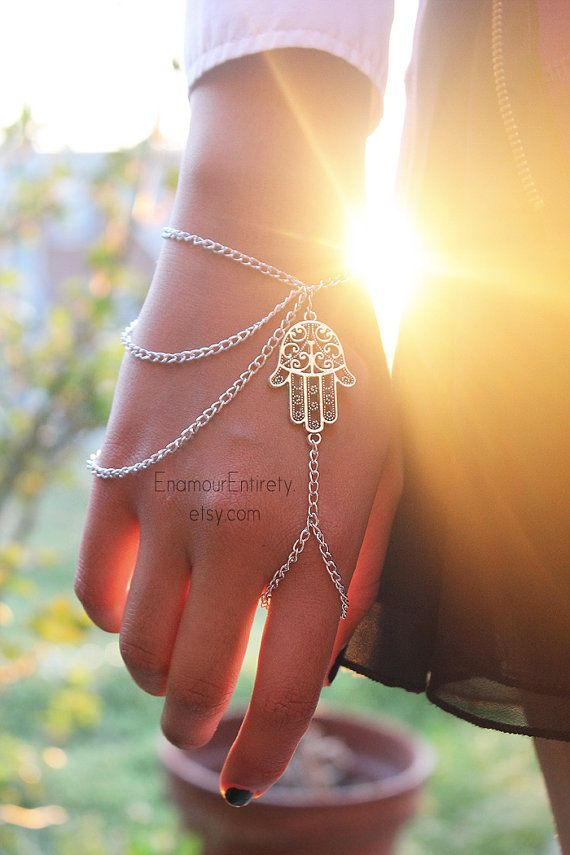 Silver Hamsa Slave Bracelet by EnamourEntirety on Etsy, $13.00