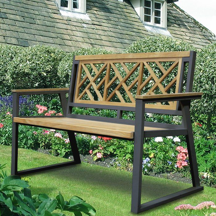 California Room Chippendale Teak and Iron Garden Bench ...