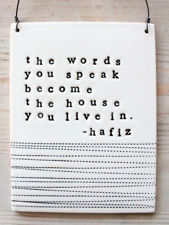 hafiz porcelain plaque the words you speak quote.