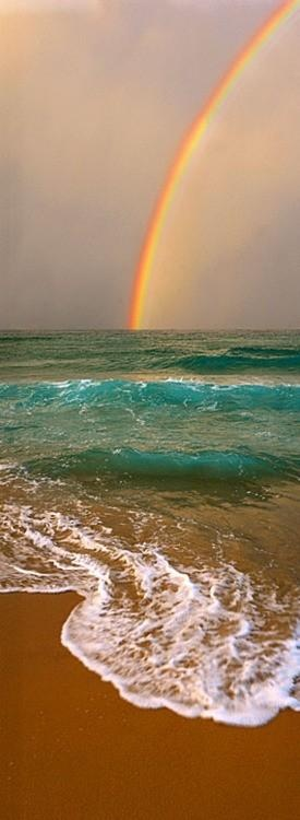 See a beautiful rainbow over the sea.