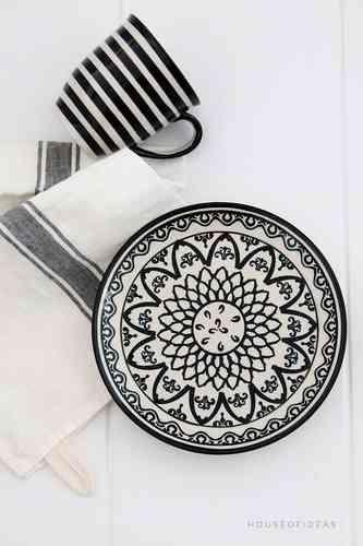 Dessert Plate Polish Pottery black