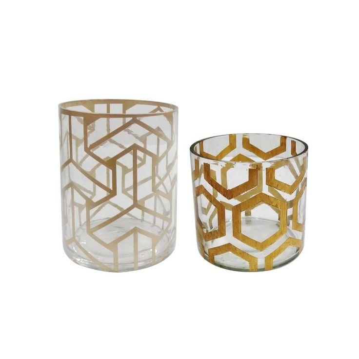Glass Bamford Vase Set Gold