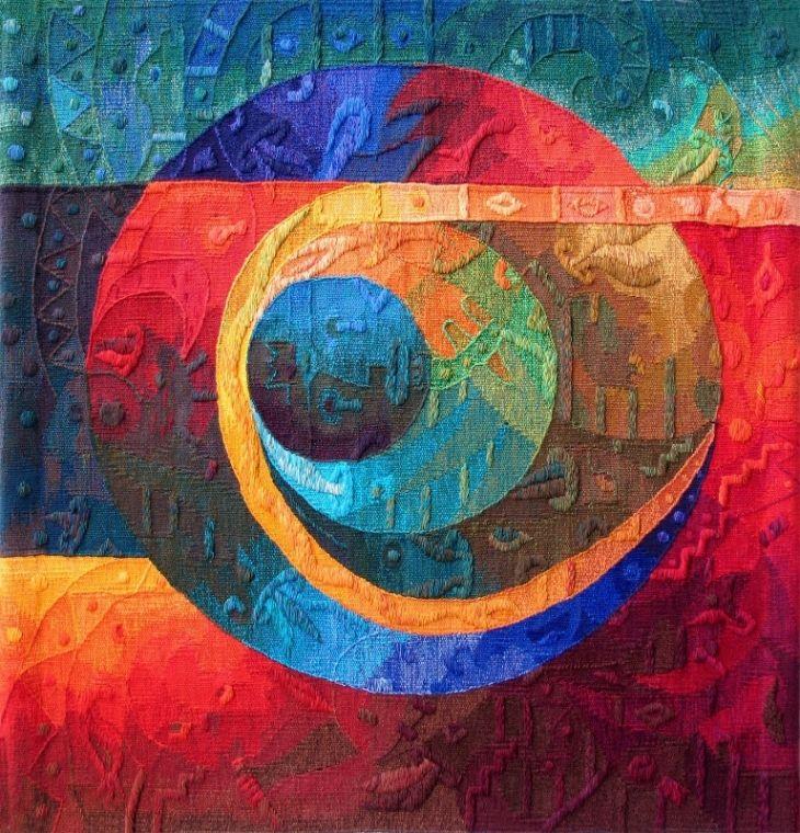 """Eclipse del Sol y la Luna"" by Maximo Laura, one of Latin Amerca's most prolific textile artists. Maximo Laura is a Peruvian award winning textile artist"