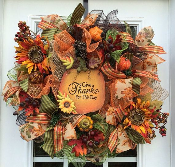 Deluxe Fall mesh wreath Fall/autumn deco mesh wreath, pumpkin wreath with acorns, sunflowers. Fall Front door wreath on Etsy, $75.00