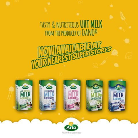 Tasty & Nutritious Arla UHT milk, from the producer of Dano, is now available at your nearest superstores.