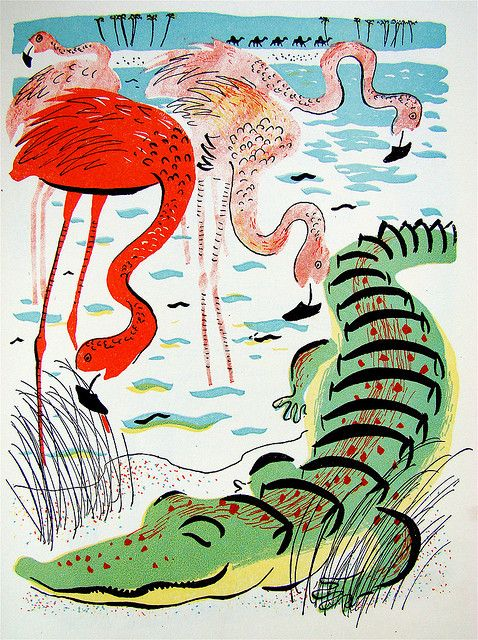 """Flamingo and Crocodile  From a 1944 edition (illustrated by Roger Duvoisin) of """"A Child's Garden of Verse,"""" by Robert Louis Stevenson."""