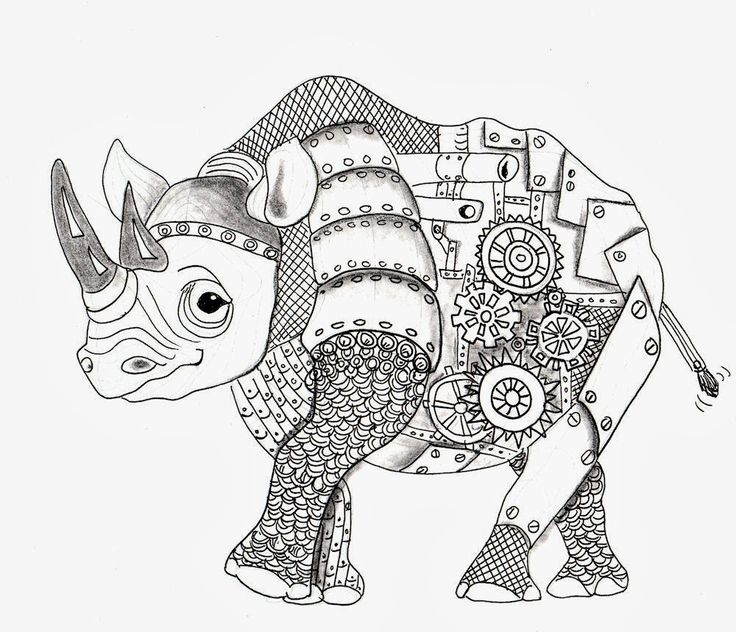 1000 images about steampunk coloring art print pages Steampunk animals coloring book
