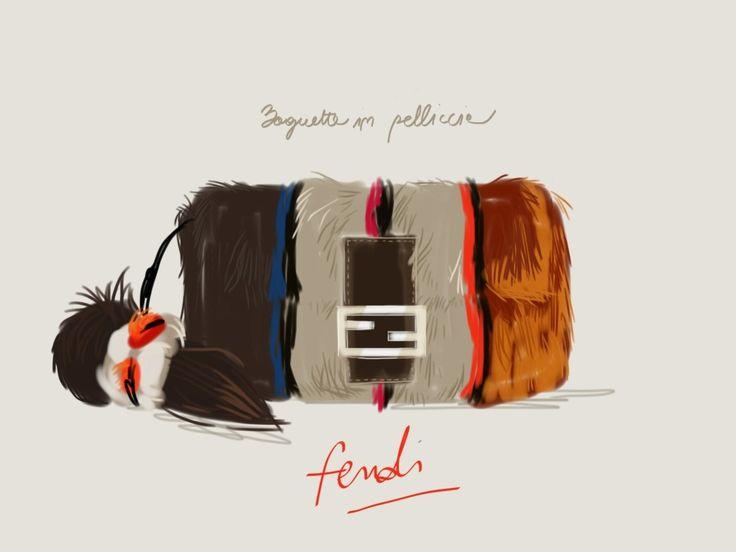 Baguette Fendi in pelliccia colorata.  #illustration Open Toe - Opentoeillustration.com