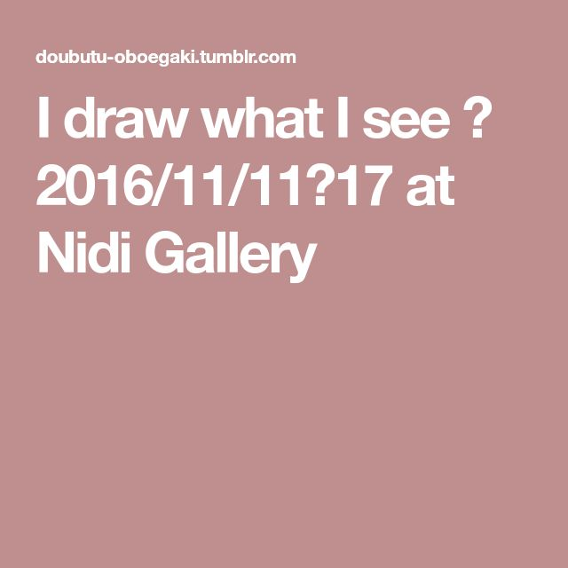 I draw what I see 展 2016/11/11〜17 at Nidi Gallery