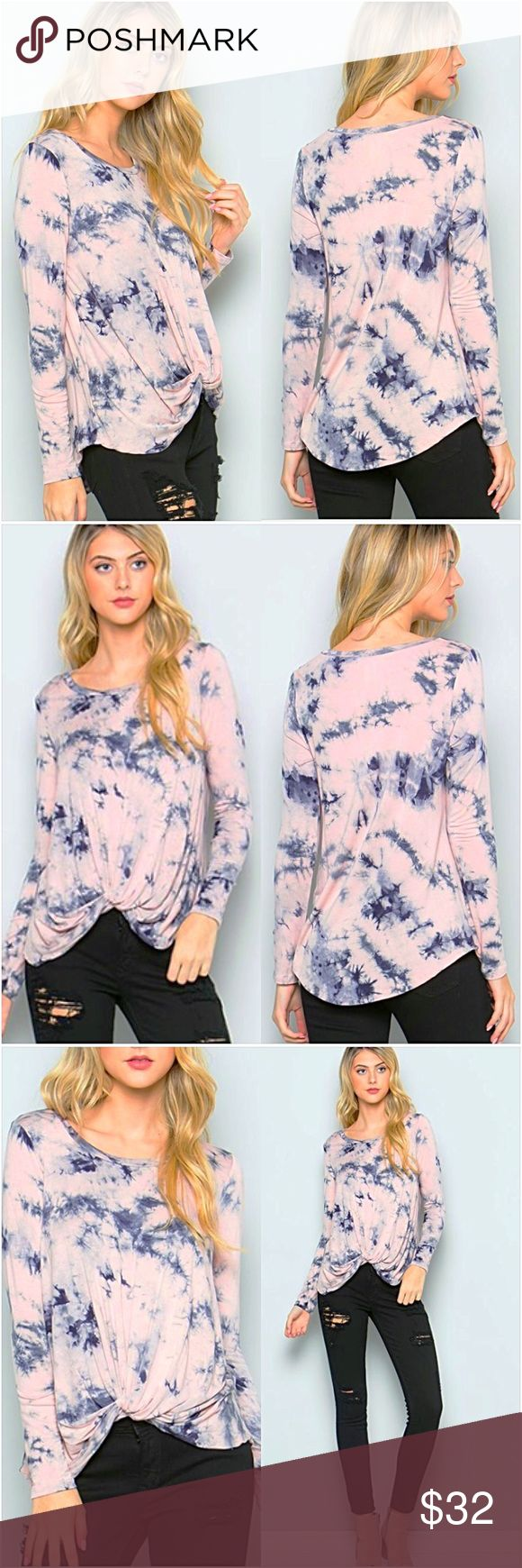 """Blush Blue Knotted Tie Dye Tunic Top SML Beautiful blush & blue tie dye knit front tunic top. Lightweight stretchy 95% rayon - 5% spandex - Made in USA  Small Bust 32-34-36 Front Length 17"""" Back Length 27""""  Medium Bust 36-38 Front Length 17.5"""" Back Length 27.5""""  Large Bust 40-42 Front Length 18"""" Back Length 28"""" Tops"""