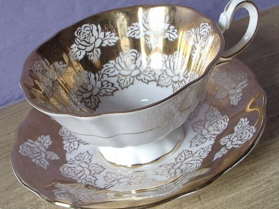 Antique Gold teacup and saucer Queen Anne gold by ShoponSherman