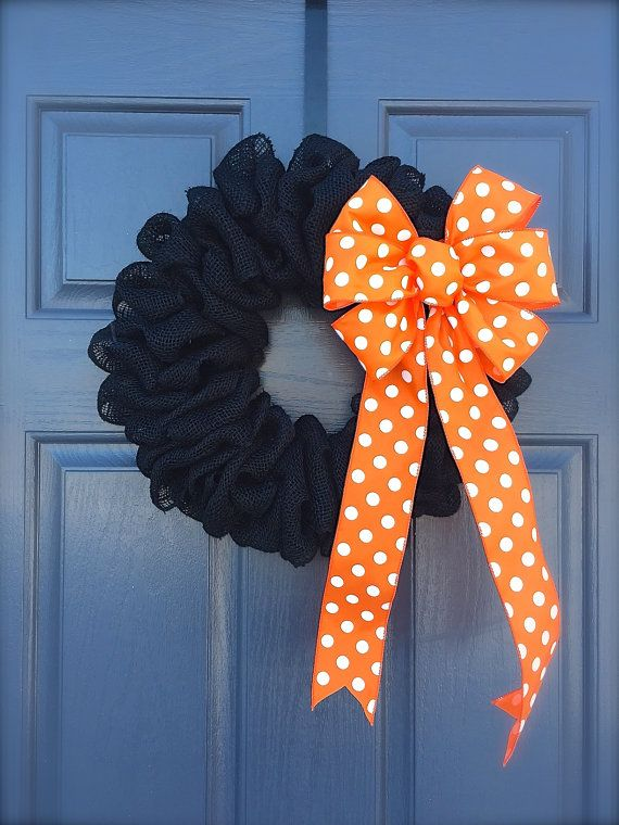 Halloween Burlap Wreath Orange Polka Dots by WreathsByRebeccaB