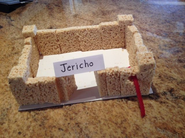 Walls of Jericho created with Rice Krispies Treats and red licorice stick... for Sunday Church Lesson