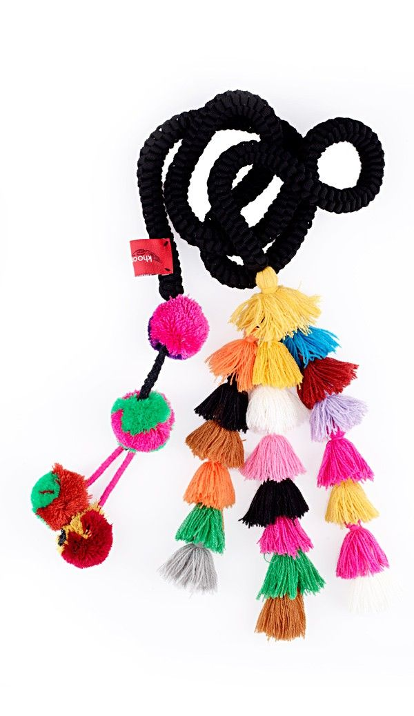 """Rope Cord """"Belt"""" with Multi-coloured Tassels and PomPoms"""