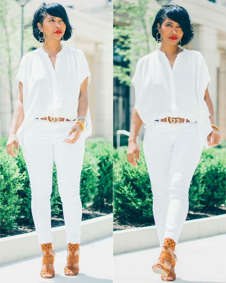 All white outfit, white jeans, Gucci belt, Bob haircut, Sweenee Style, Instagram @sweeneestyleblogger