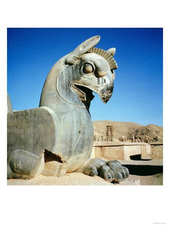 JOJO POST STAR GATES: GIANT GRIFFIN?? PERSIAN. circa 516-465 BC  EARLY REFERENCES to griffins are found in ancient Persian and Egyptian mythology. Griffins were often used as statues in Persian palaces. These early statues usually showed the griffins with horizontal wings lying along the back of the body. Griffins were also depicted as pulling chariots of the gods of Mesopotamia and the Pharoahs of Egypt.