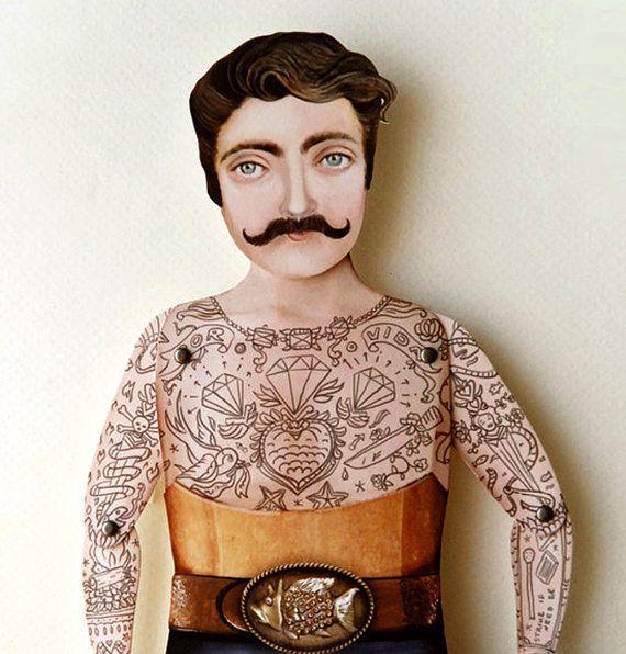 Tatuaje de marionetas de papel - Sir Craig, Dapper, bigote, tipo duro, victoriano, Hustler para cumpleaños, boda, mejor amigo. Único papel regalo de arte.
