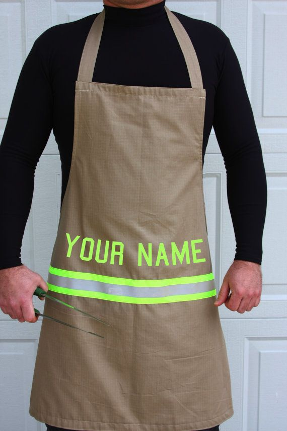 How awesome for your firefighter. Personalized firefighter apron with lettering by FullyInvolvedStch, $30.00