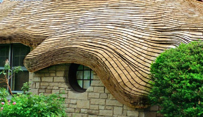 A Roof Of Steam Bent Cedar Wood Shingles Stacked Roof