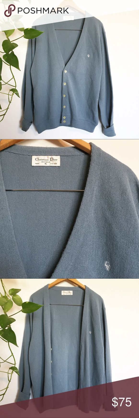 """Vintage Christian Dior grandpa cardigan sweater Vintage Christian Dior grandpa cardigan sweater. Has Dior embroidery on left shoulder. It's made from that 70s knit orlon acrylic that looks like wool but isn't itchy. Size XL, 24"""" pit to pit and 28"""" long. Cute oversized slouchy hip look. Christian Dior Sweaters Cardigan"""