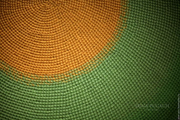 Купить Коврик круглый Цитрусовый шерстяной - вязание на заказ, вязаный коврик, ковер ручной работы