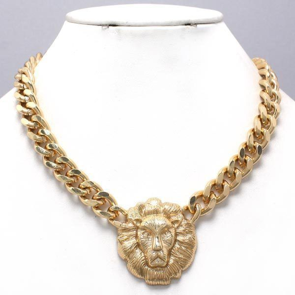 Bold Statement Celebrity Style  Lion Head Necklace #Statement