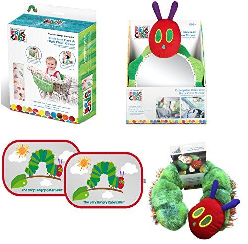 Baby Shopping Cart Cover Very Hungry Caterpillar by Eric Carle 4 Piece Travel Kit (Shopping Cart Cover   Caterpillar Back View Car Mirror   2 Pc. Pop Open Sun Shade   Neck Support Pillow) ** Read more at the image link.