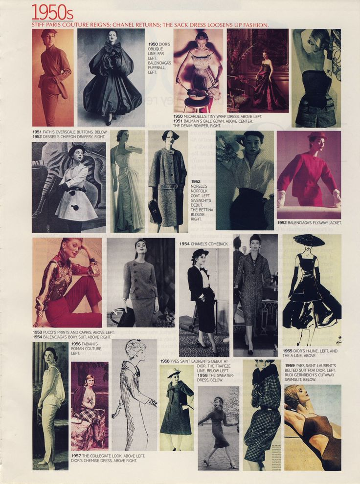 """What we wore"" 1950s. Scanned from a late 90s American Vogue."