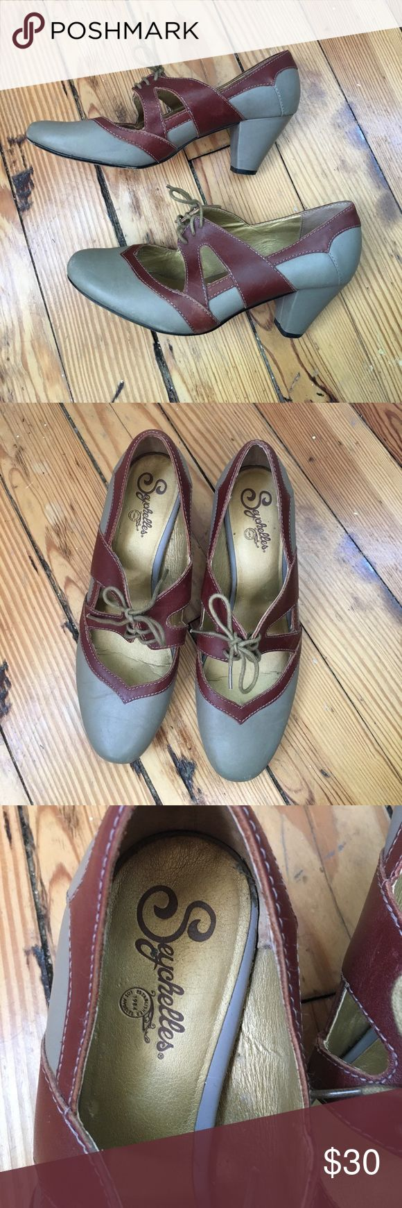 Seychelles gray and maroon pumps tie Vintage style pumps with chunky heels, round toe and tie detail. Pretty maroon and gray. Some scuffs and wear pictured Seychelles Shoes Heels