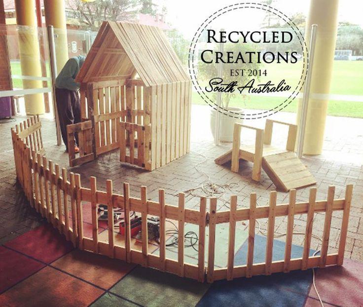 Basic pallet cubby house, pallet fencing and pallet garden bridge