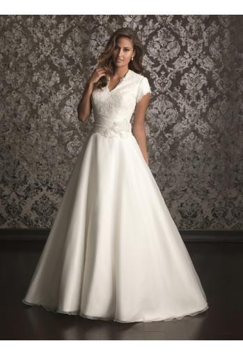 Robe de mariée A-line dentelle organza fleurs manches courtes