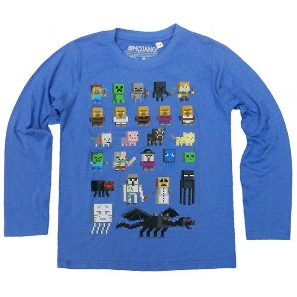 Minecraft langærmet t-shirt i flot blå farve med flere forskellige figurer