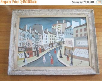 Vintage Franse grillige olieverfschilderij door Charles de Montfort ~ Parijs slaapkamer Decor, Frans Shabby Chic wandkleden, Housewarming cadeau Ide