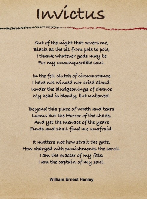 It matters not how straight the gate,How charged with punishments the scroll.I am the master of my fate:I am the captain of my soul.: Favorite Poem