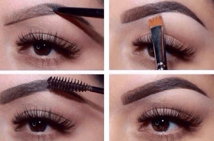 Augenbrauen mit Pinsel und Augenbrauenbürste formen