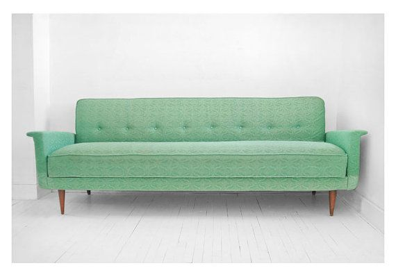 Midcentury Modern Seafoam Green Sofa.