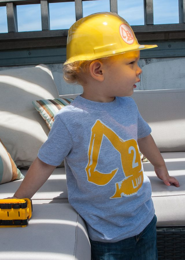 How to make a personalized excavator digger iron-on t-shirt for a #construction birthday party @Kathy Beymer from Merriment Design